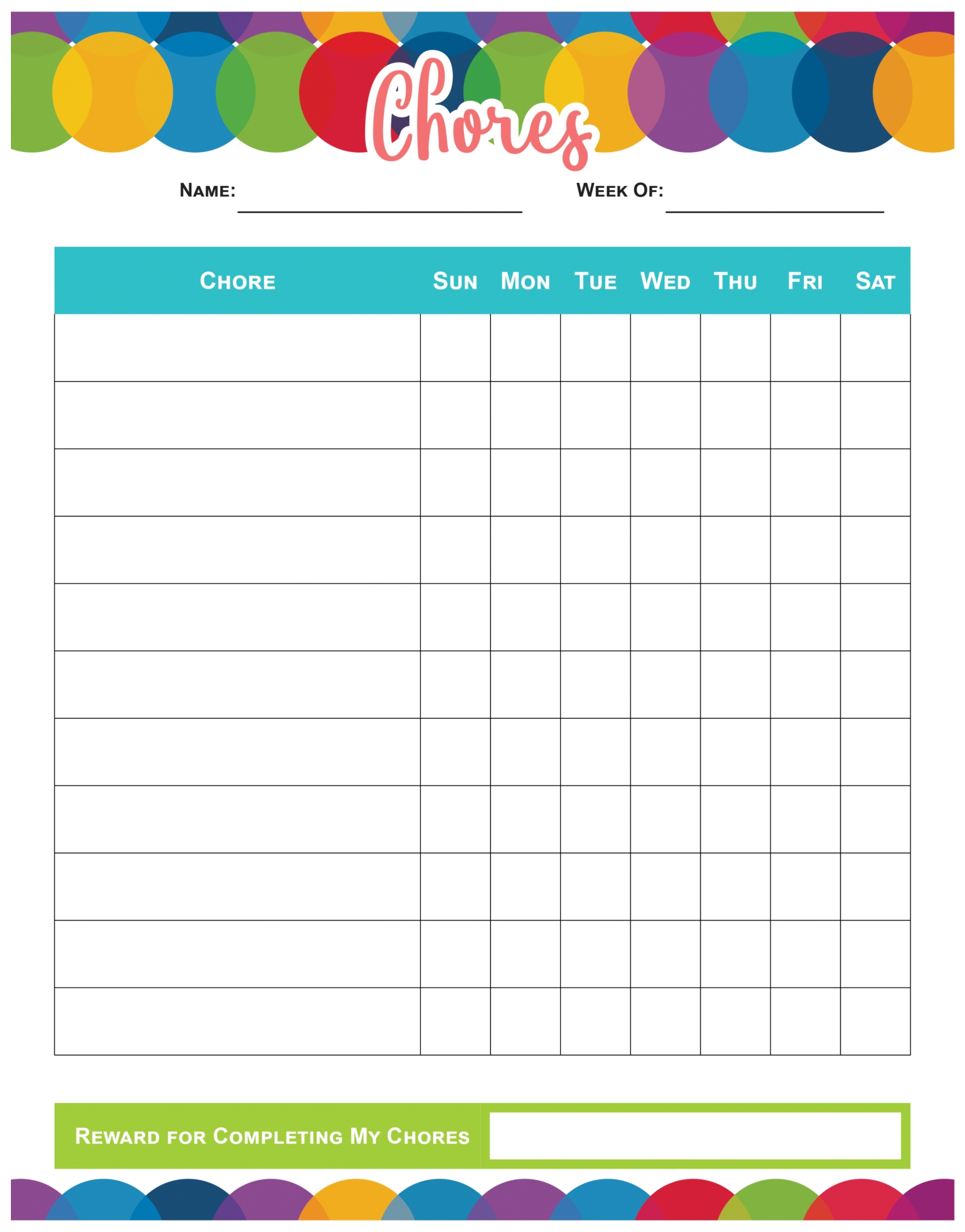 Printable Blank Weekly Chore Chart Templates