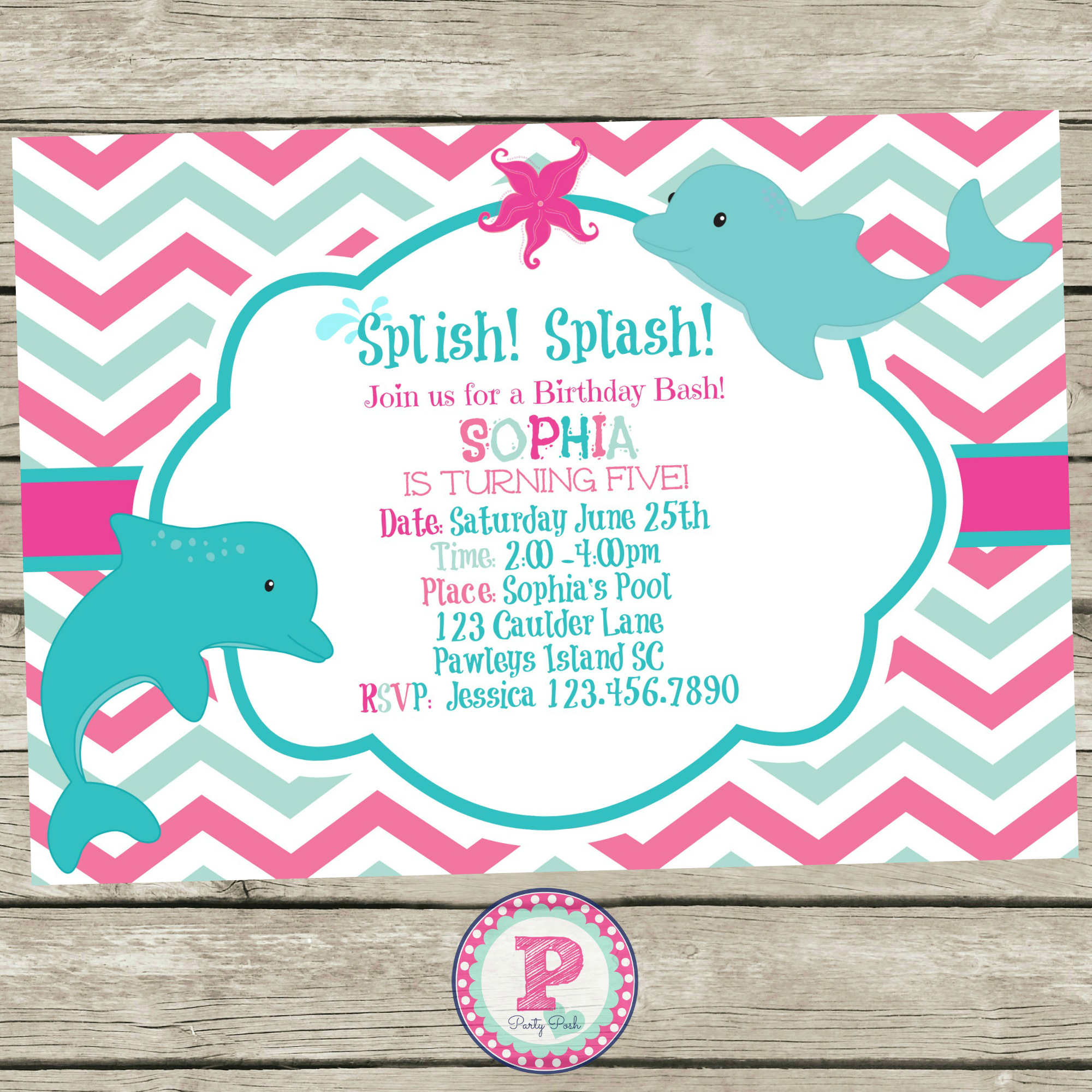 7 Images of Dolphin Birthday Party Invitation Printable Free