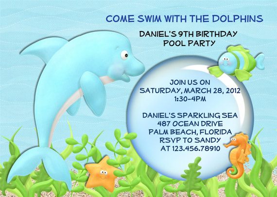 7 Best Images of Dolphin Birthday Party Invitation Printable Free – Dolphin Birthday Invitations