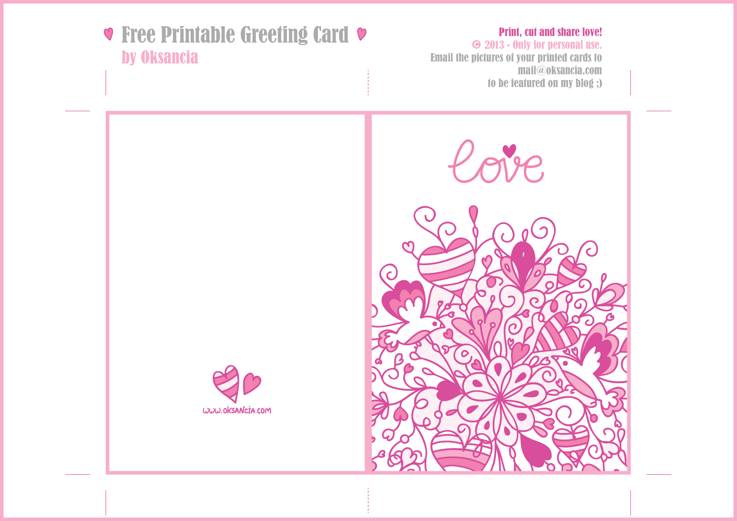 6 Images of Printable Love Greeting Card