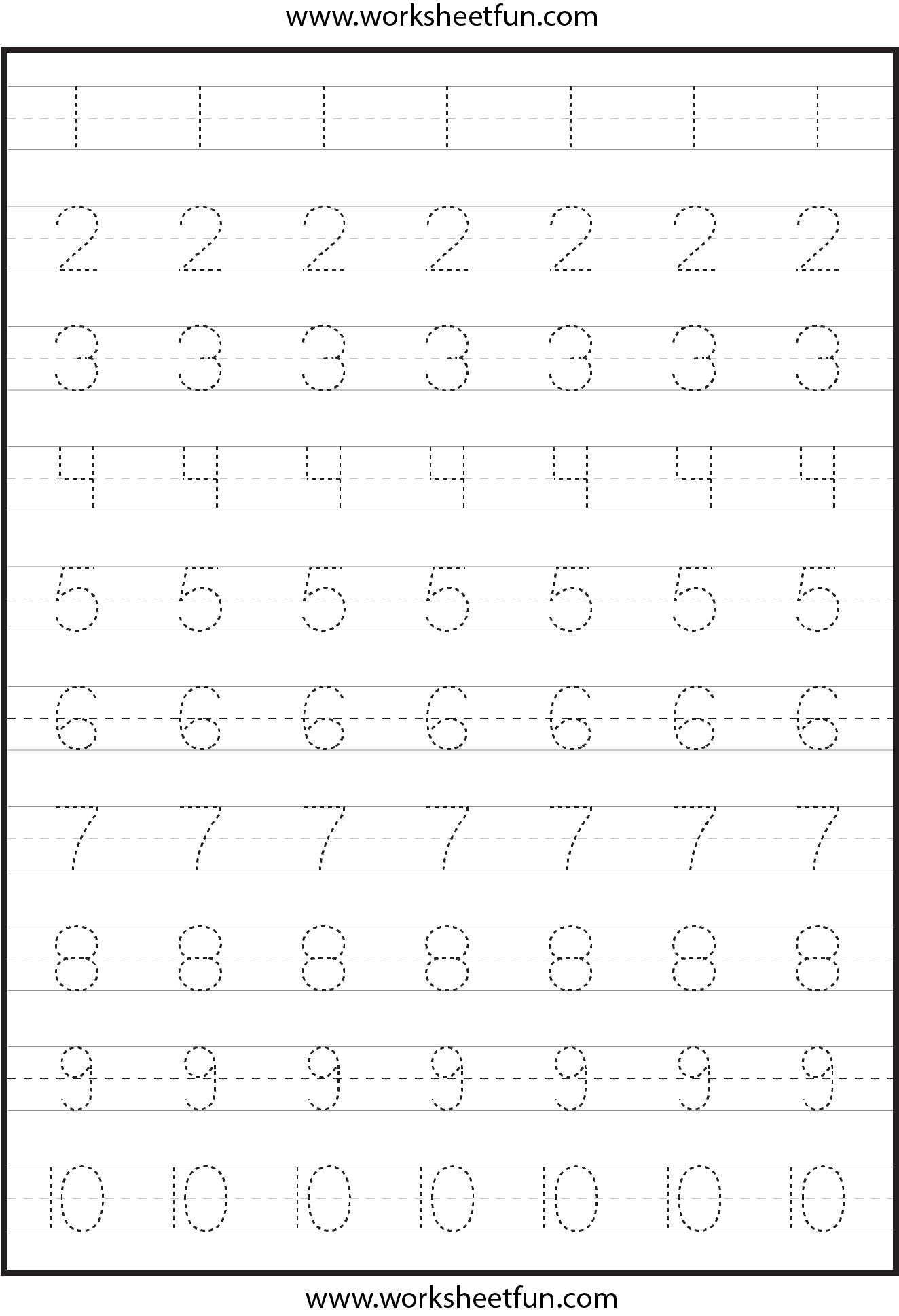 4 Images of Printable Tracing Numbers 4