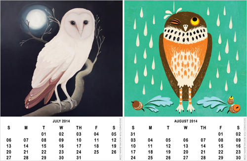 5 Images of Free Owl Printable Calendar 2016