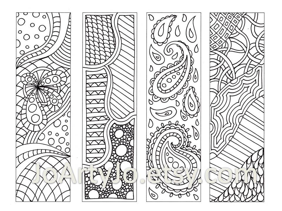 5 Images of Doodle Coloring Pages Printable Bookmarks