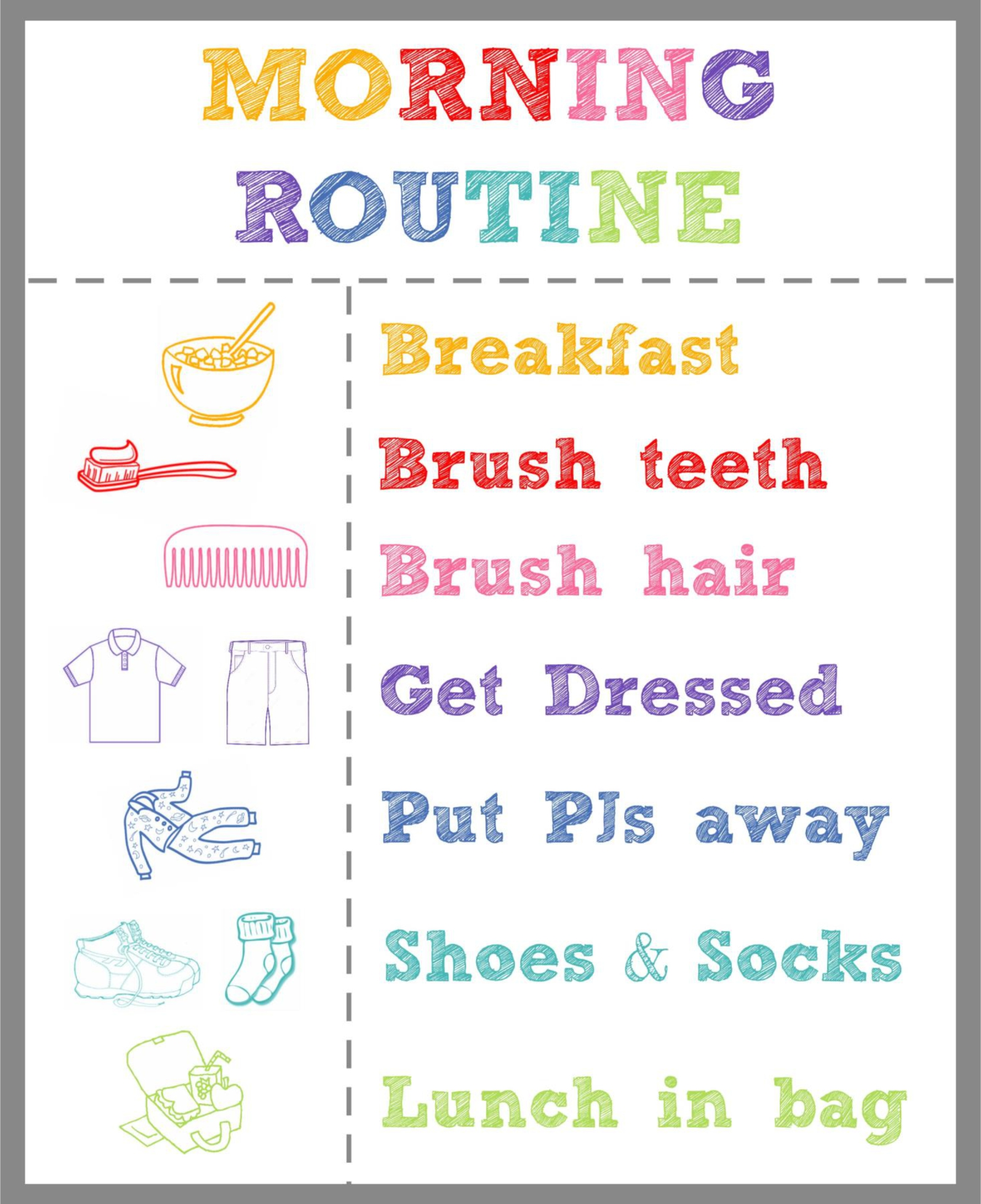 9 Images of Elementary Printable Bedtime Routine Charts