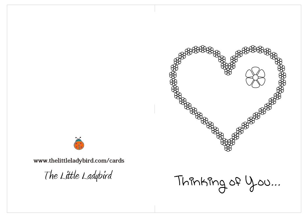 6 Images of Thinking Of You Coloring Cards Printable