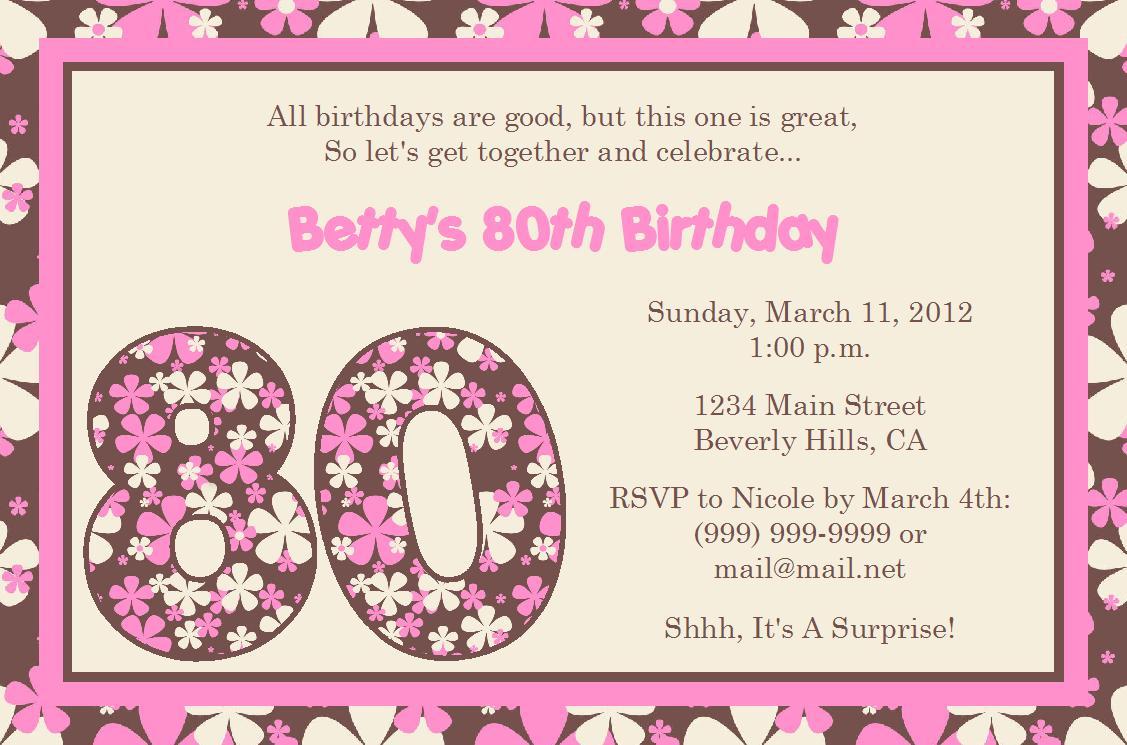 80th birthday invitation templates ctsfashion com best images of th birthday invitation templates printable