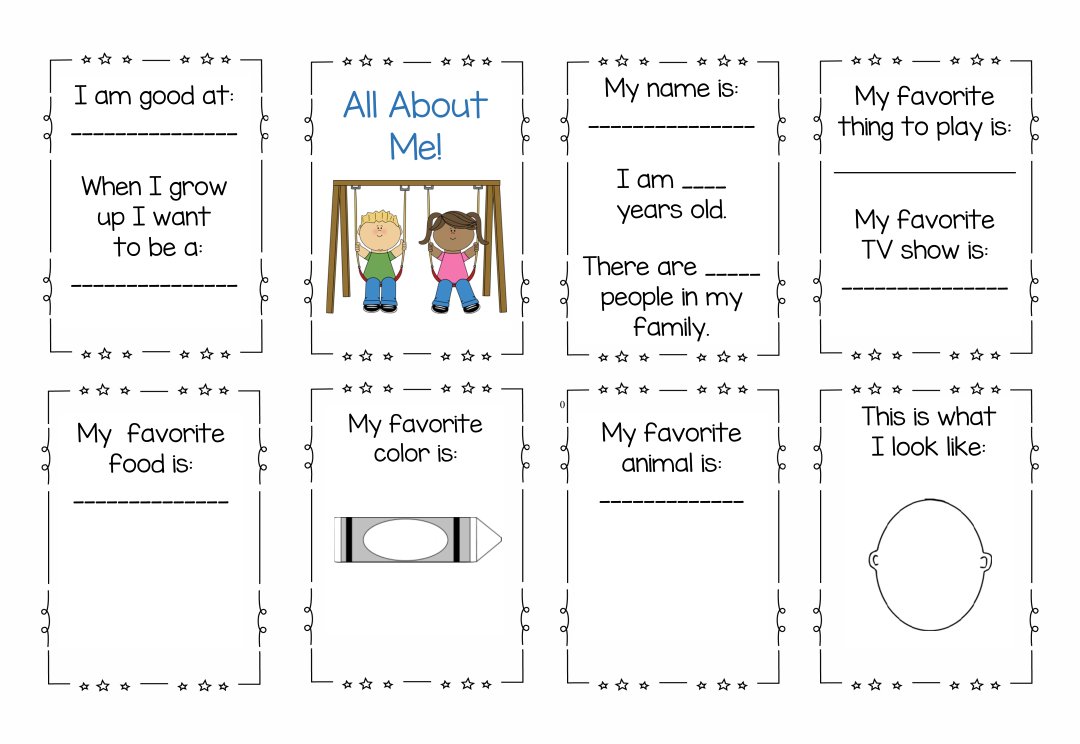 All About Me Printable Mini Book