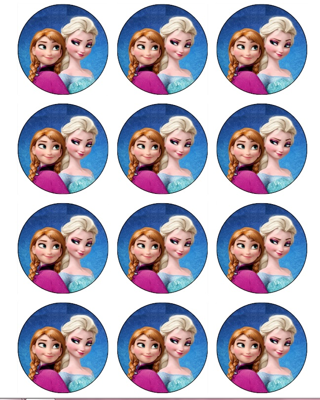8 Images of Frozen Anna And Elsa Printable Cupcake Toppers