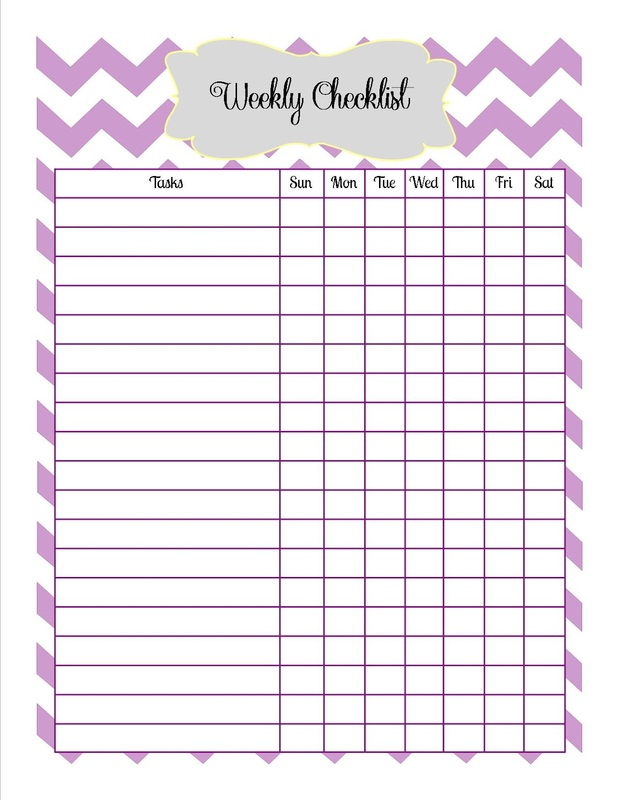 Blank Printable Checklists Weekly