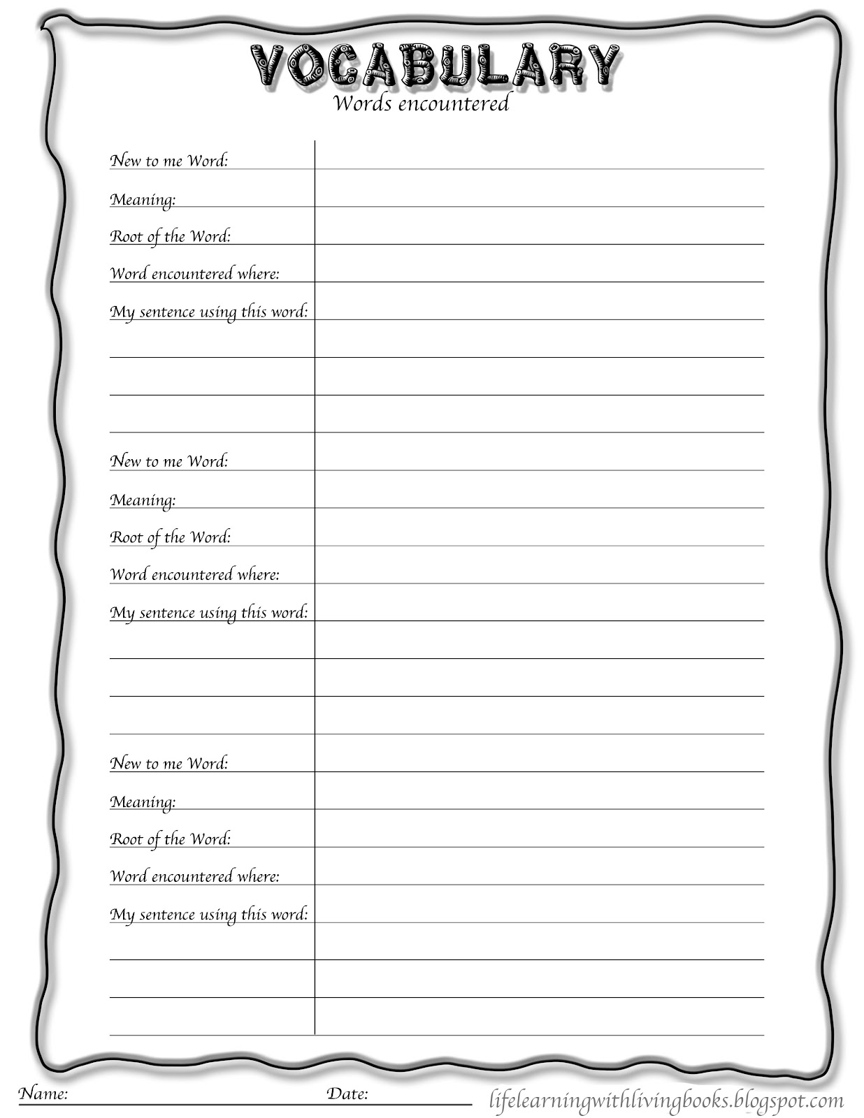 Printables Blank Vocabulary Worksheet blank vocabulary worksheet intrepidpath worksheets