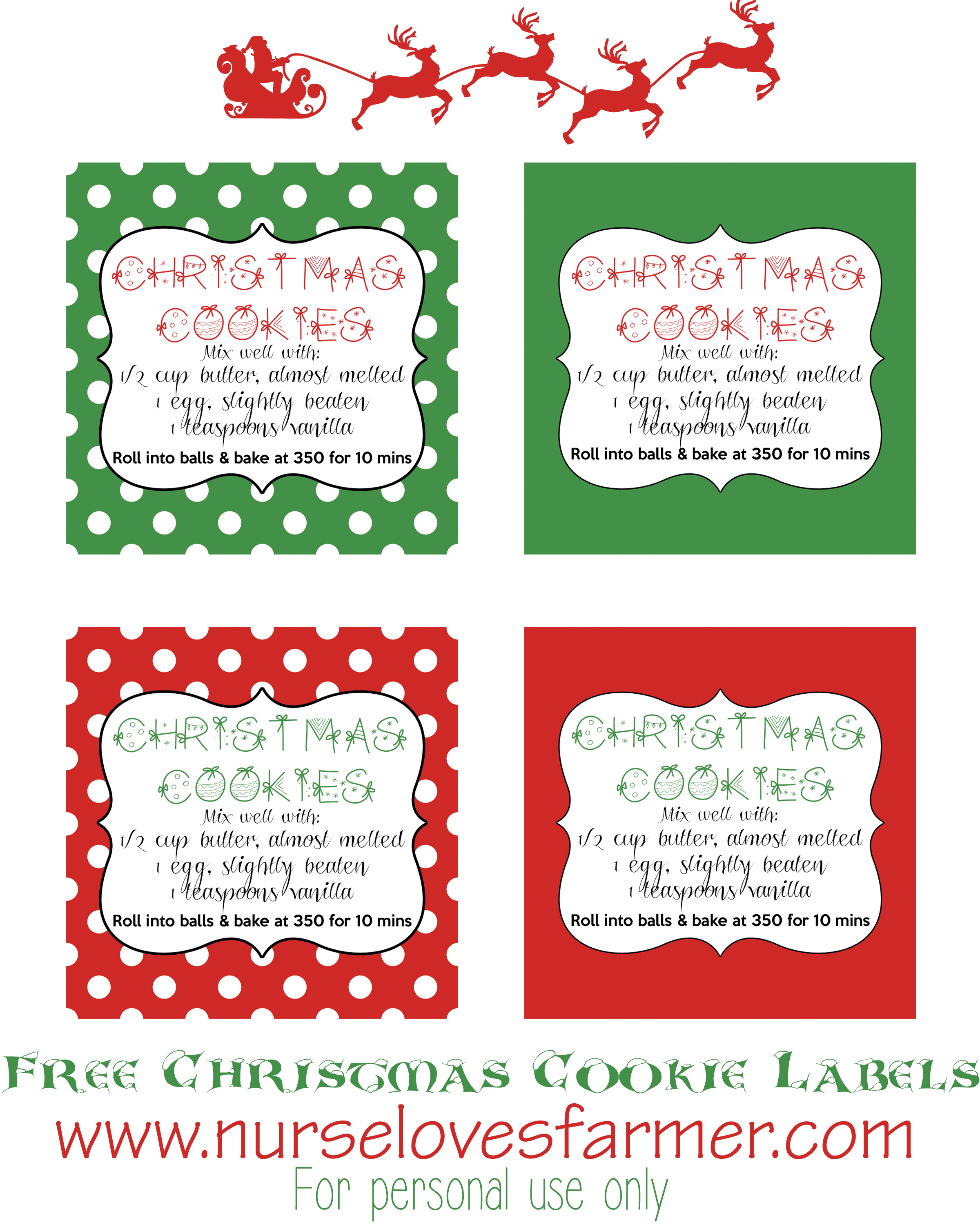 7 Images of Christmas Cookie Labels Free Printables