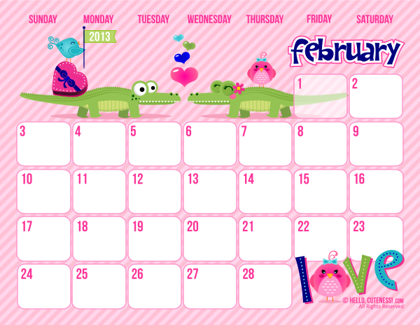 8 Images of Cute Free Printable February 2015 Blank Calendars