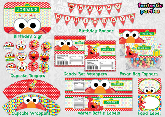 9 Images of Elmo First Birthday Printable