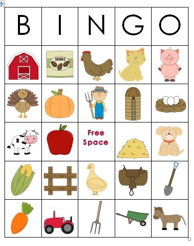6 Images of Farm Animal Bingo Printable