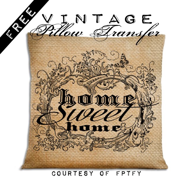 Free French Vintage Pillow Transfer