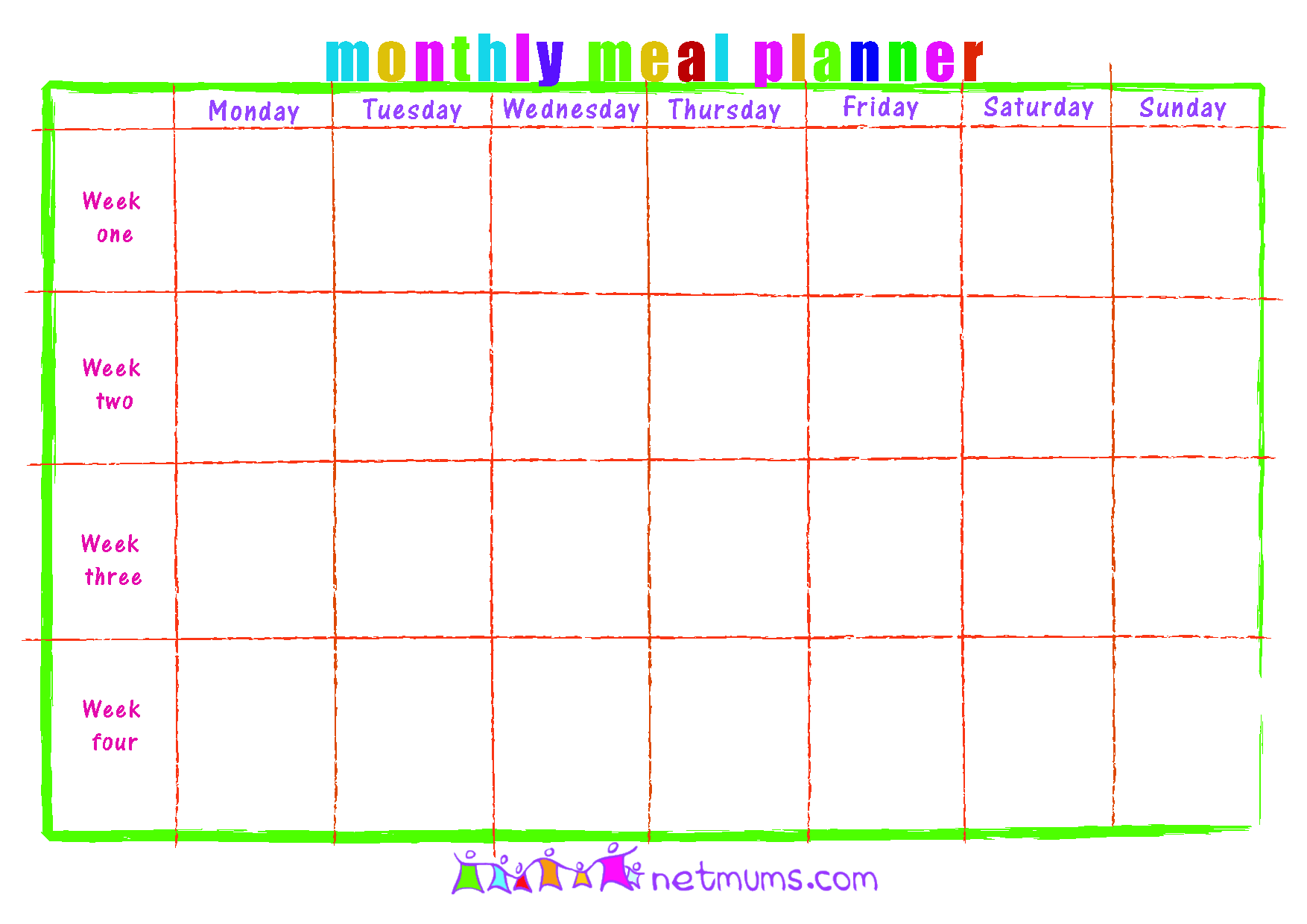 Calendar Template - Blank Monthly Calendar Template, Free Monthly Meal ...