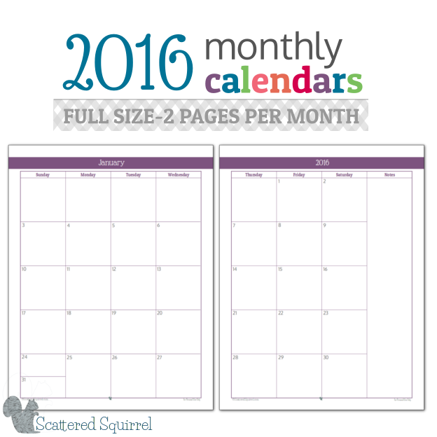8 Images of Printable 2016 Monthly Calendar Sheets