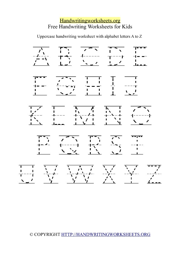 math worksheet : free printable worksheets alphabet writing  worksheets on study  : Kindergarten Handwriting Worksheets Free Printable
