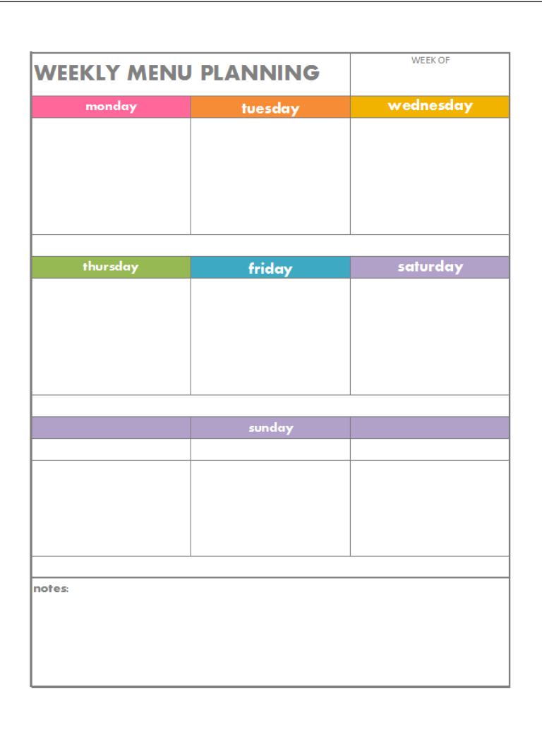 7 best images of blank printable weekly menu planner for Free printable menu templates