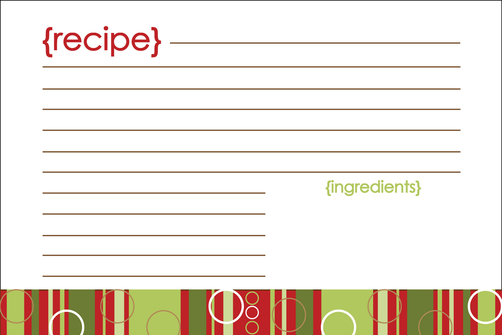Printable Christmas Recipe Card Template