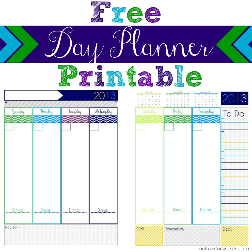 9 Images of Free Printable Day Planner 2013