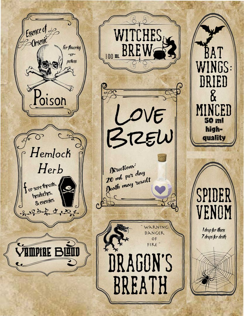 Printable Halloween Apothecary Jar Labels
