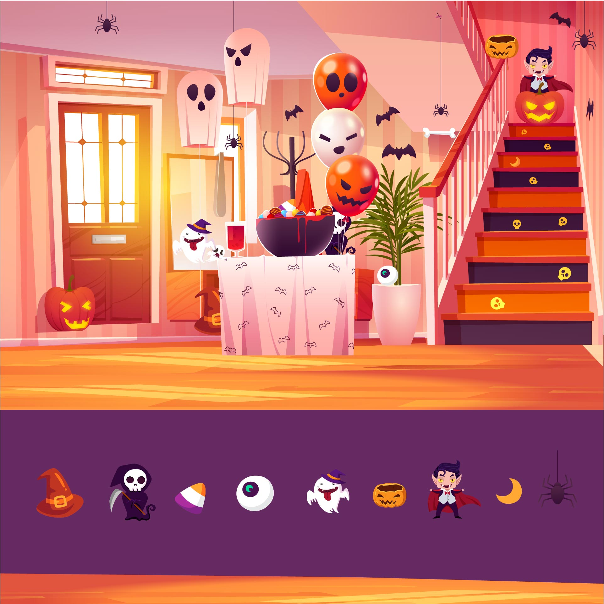 4 Images of Halloween Hidden Object Puzzles Printable