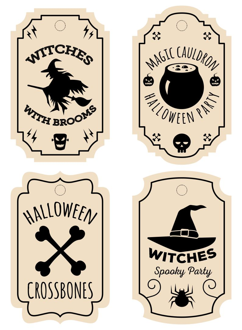 Printable Halloween Tags Vintage