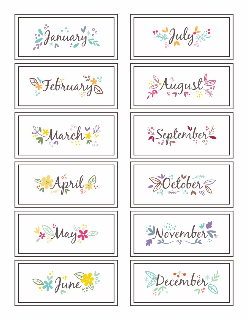 Printable Months of Year