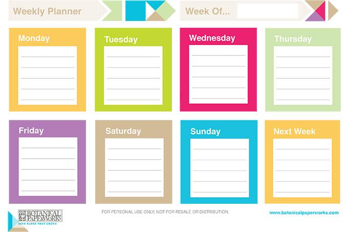 Free Printable Weekly Planner 2014
