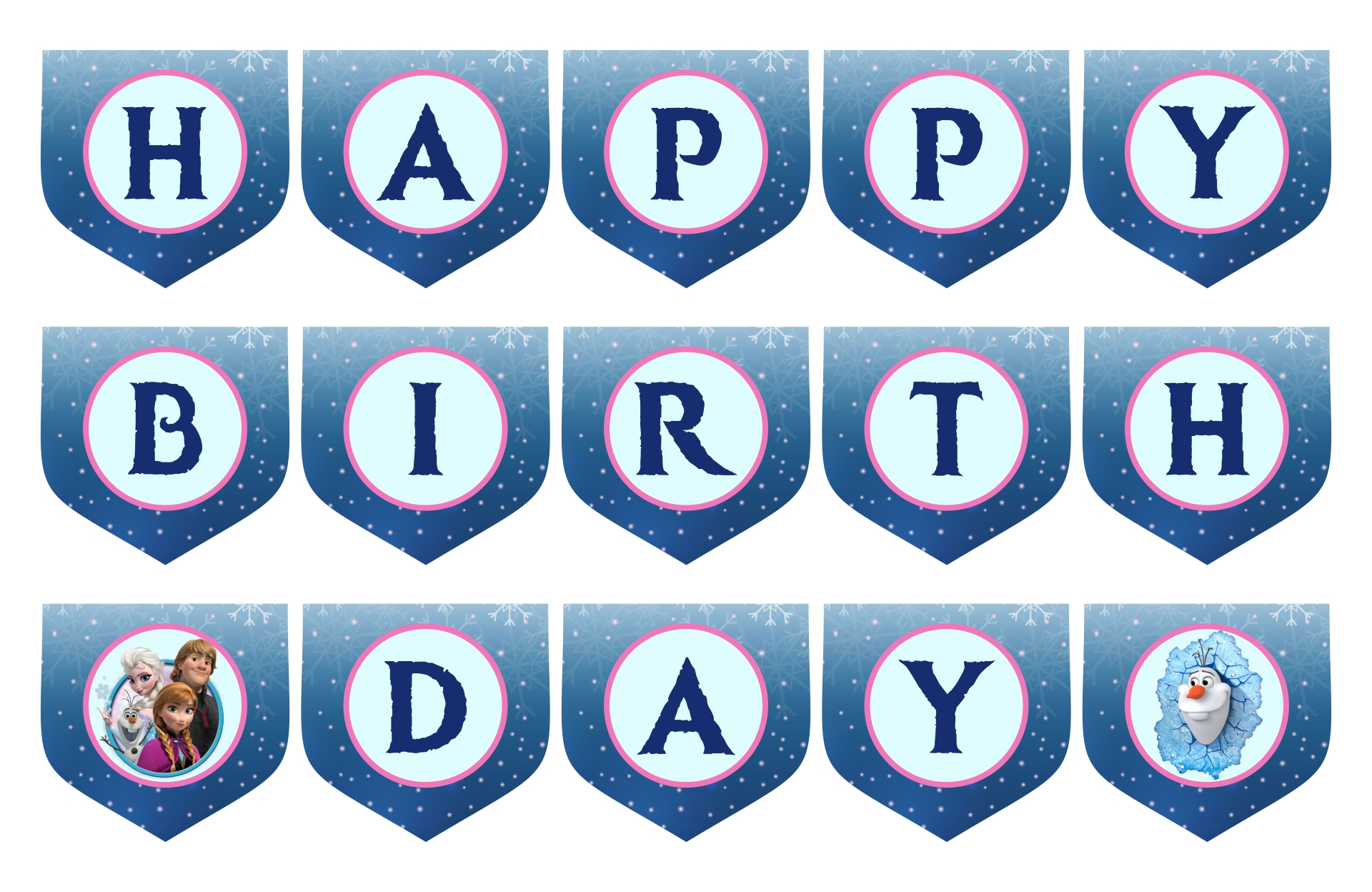 8 Images of Printable Frozen Banner Happy Birthday