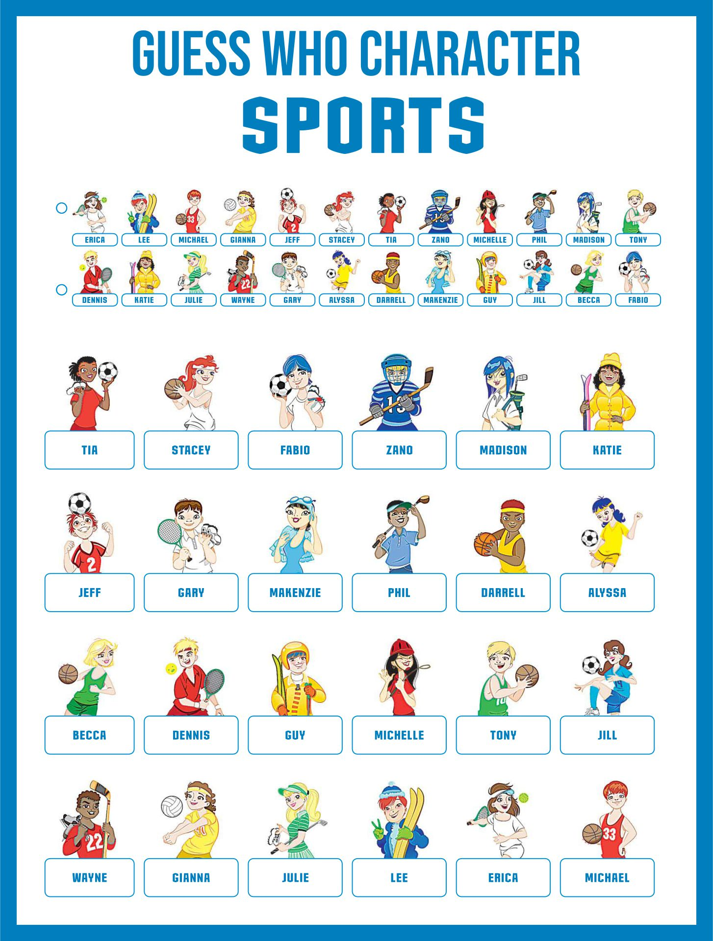 Guess Who Game Sheets Printable