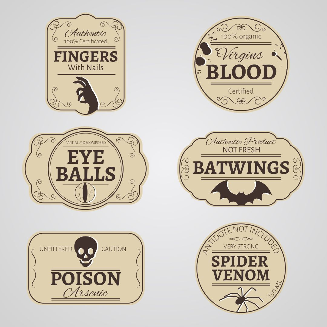 9 Images of Vintage Halloween Printable Labels
