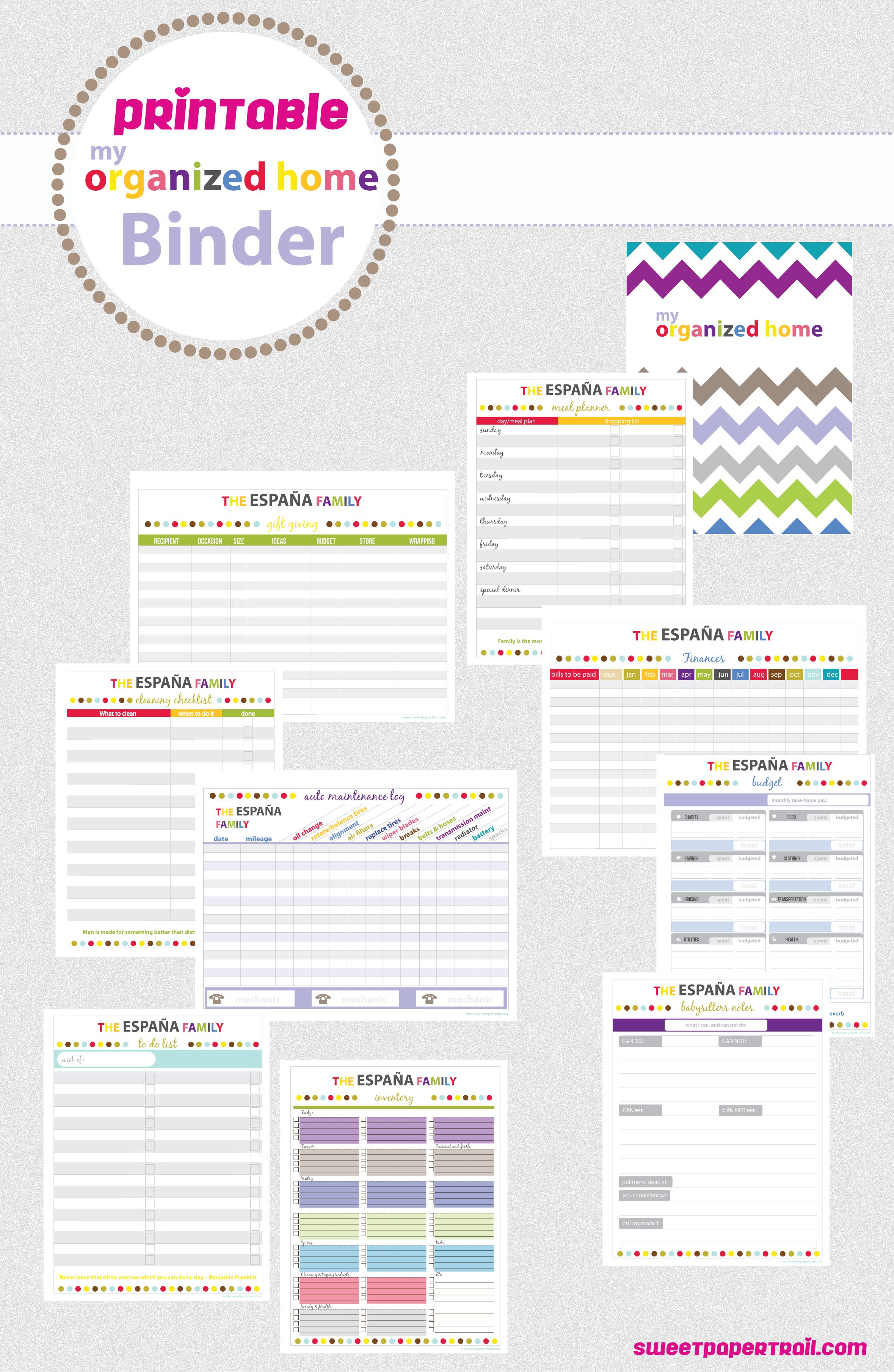 7 best images of binder organization printable planner for Home planner online free