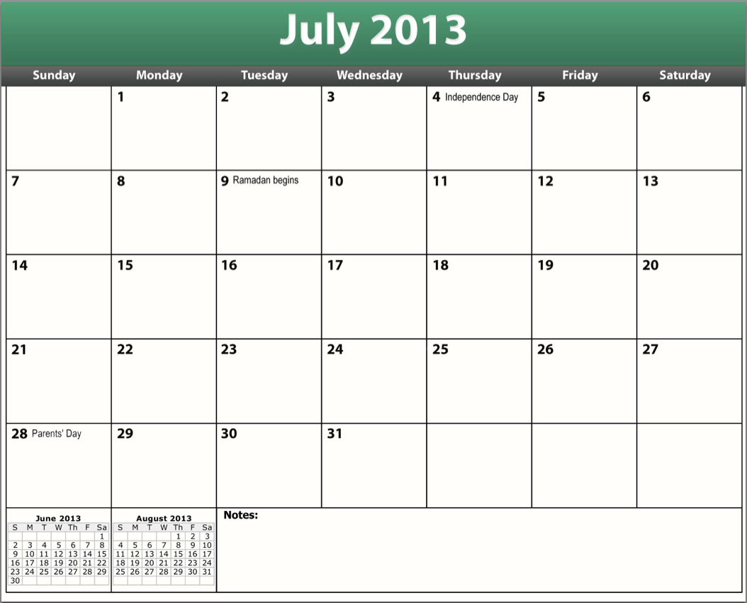 7 Images of July 2013 Calendar Printable