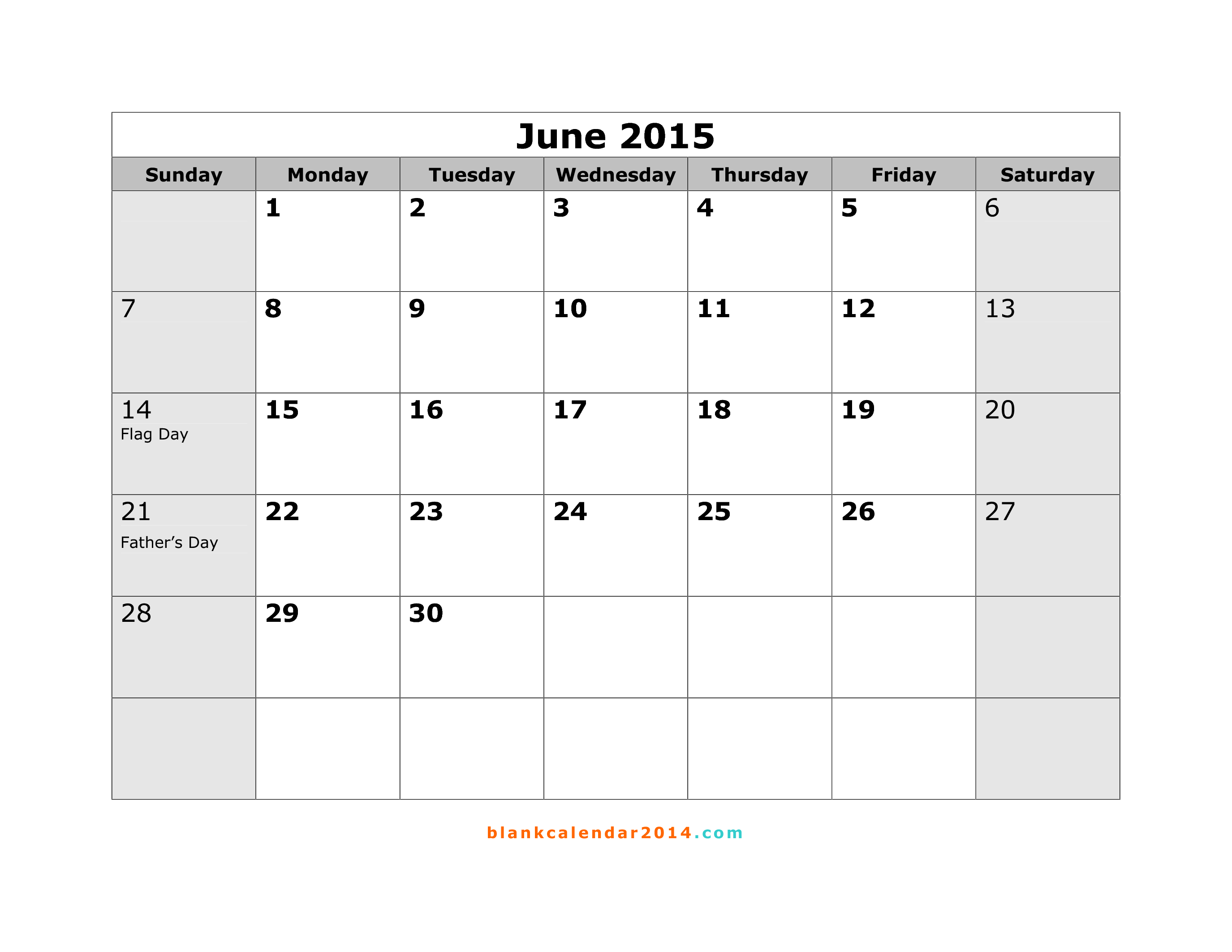 Calendar June 2015 : Best images of june calendar printable april