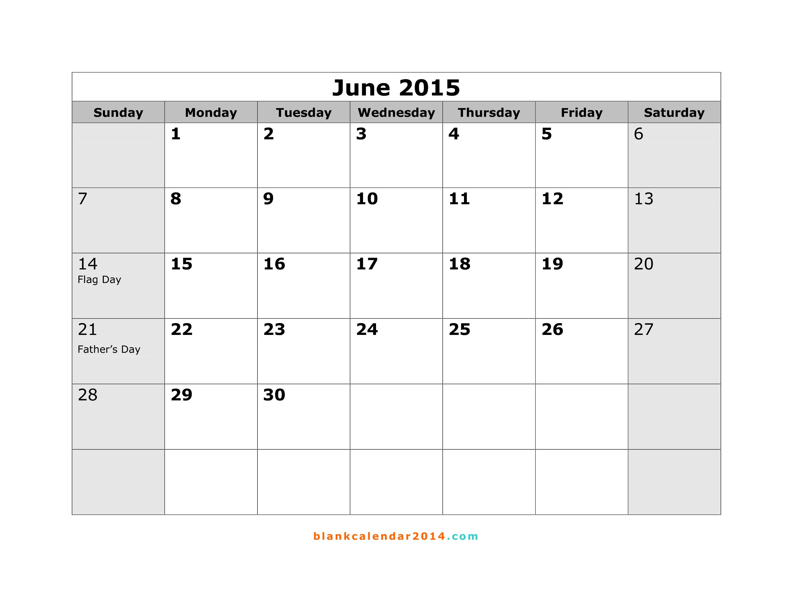 Calendar 2015 june