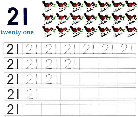 4 Images of Printable Number 21 Worksheets