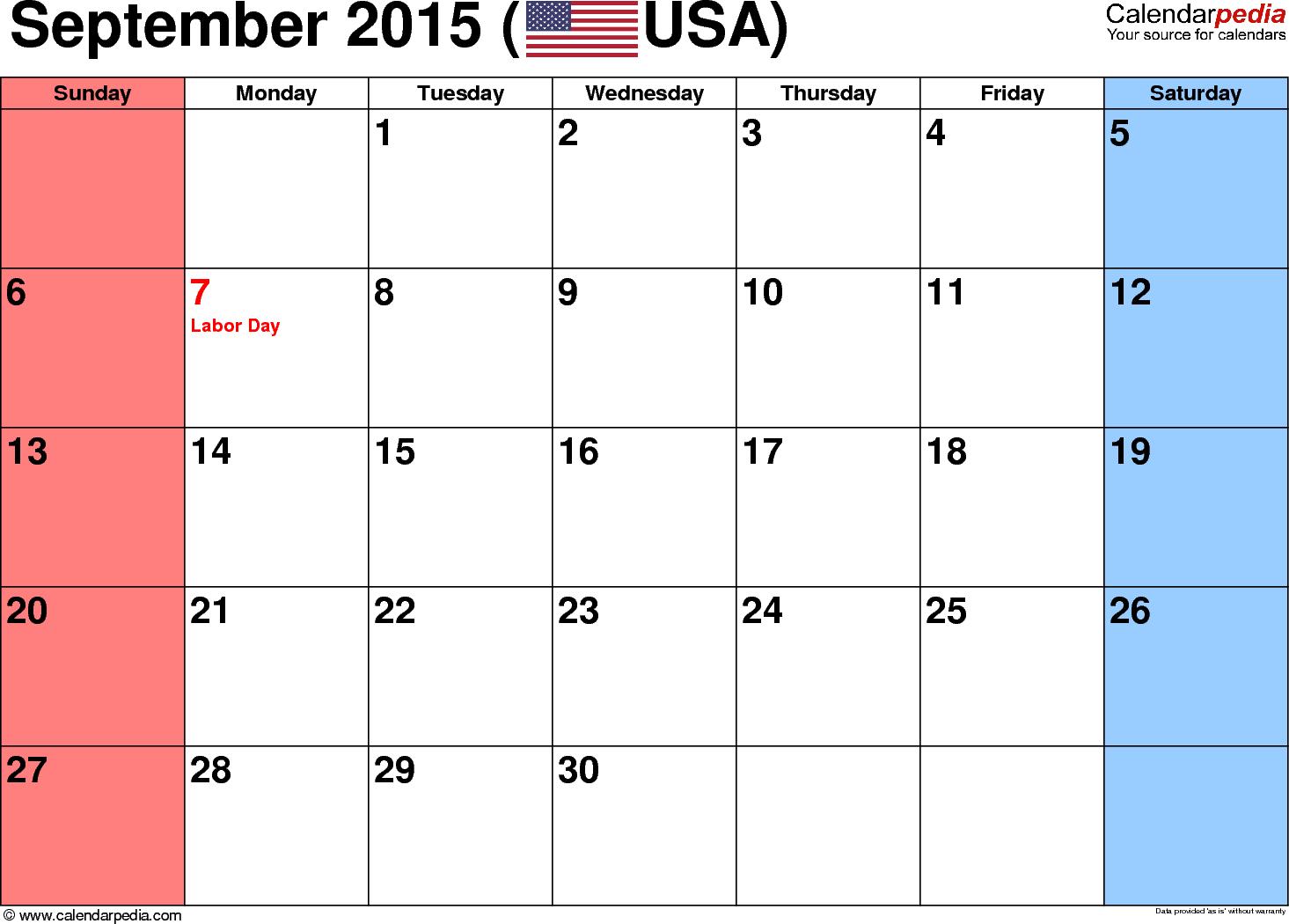 October 2015 Calendar Printable