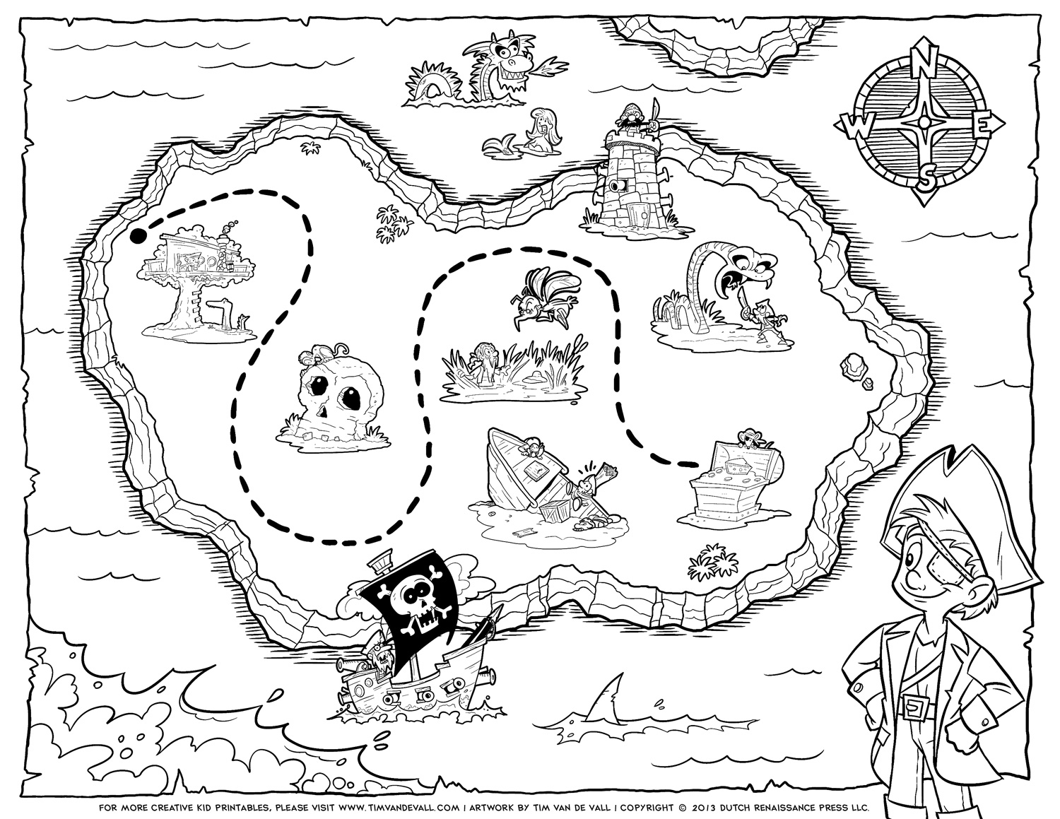 8 Images of Printable Treasure Map Coloring Page