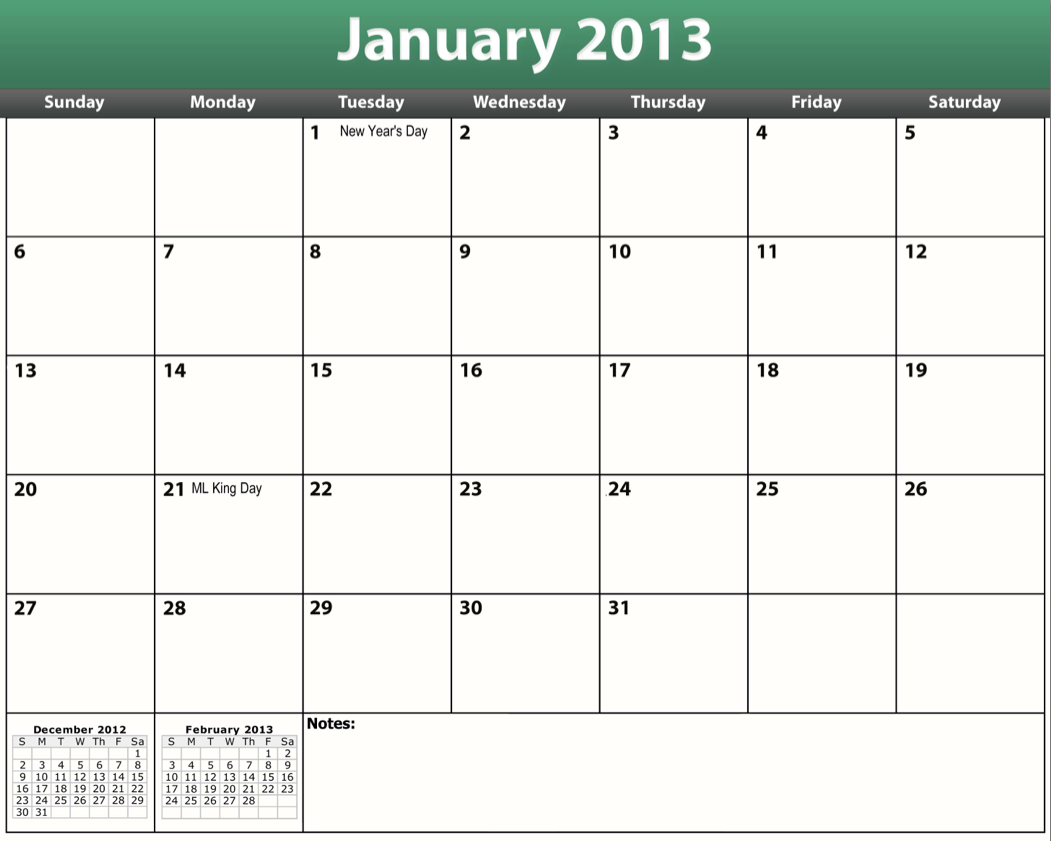 Printable 2013 Monthly Calendar Template