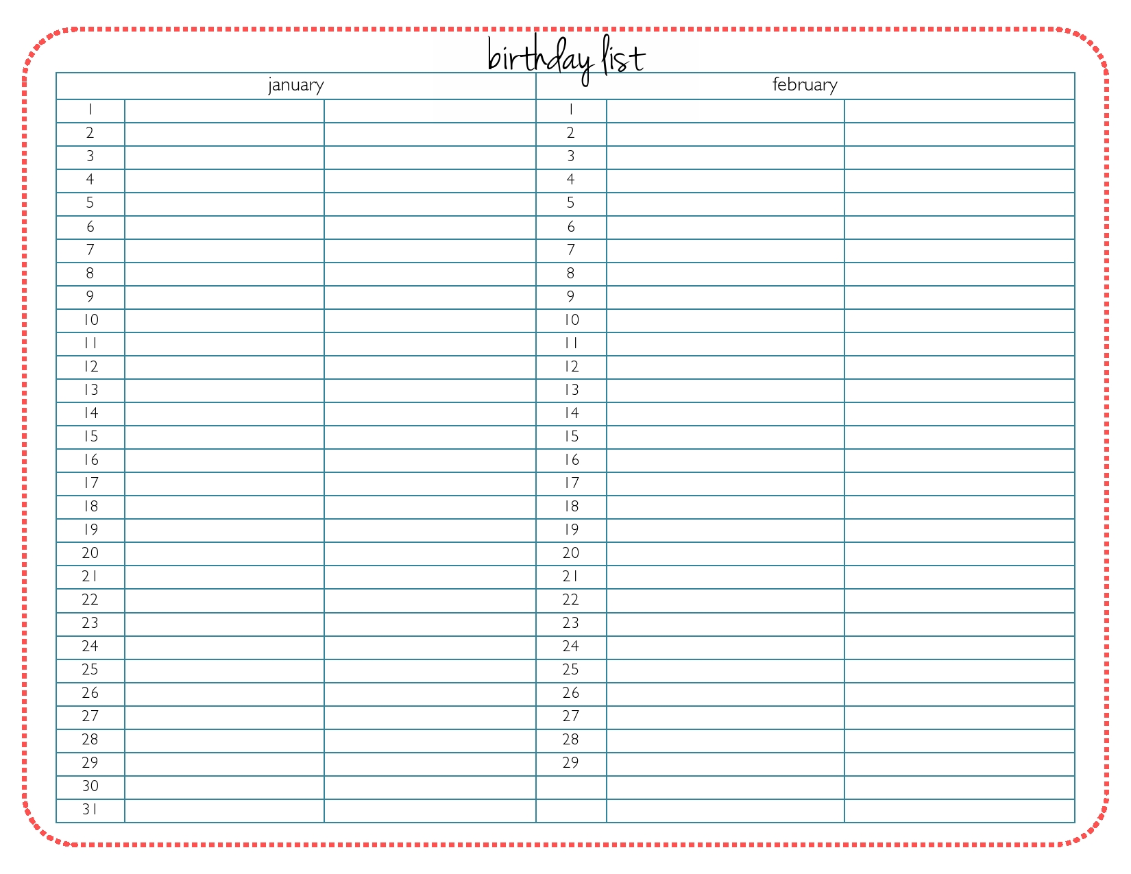 7 Images of Printable Birthday List Out