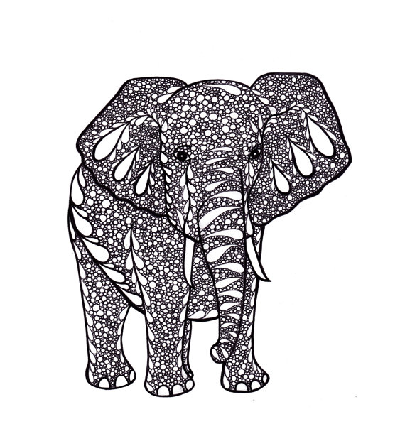 Printable Black and White Elephant Art