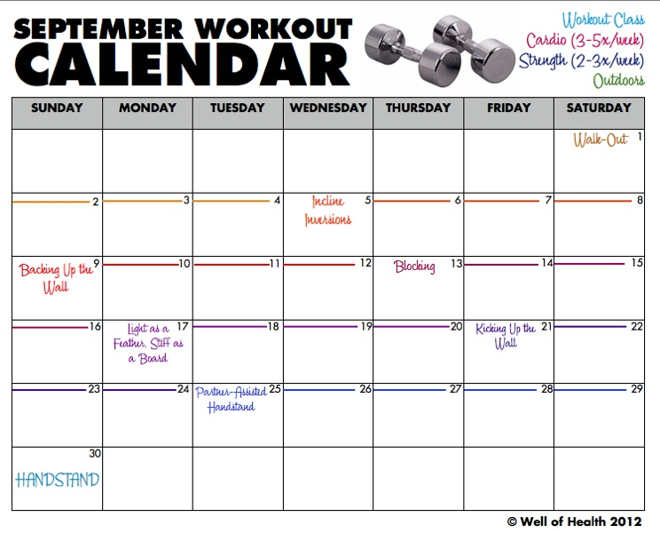 Workout Calendar Template : Best images of printable monthly workout calendar