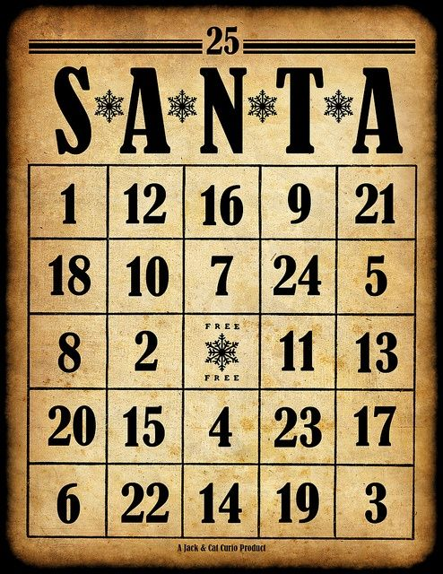 6 Images of Free Printable Santa Bingo