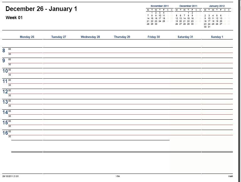 7 Images of 2012 Printable Calendar Template Weekly