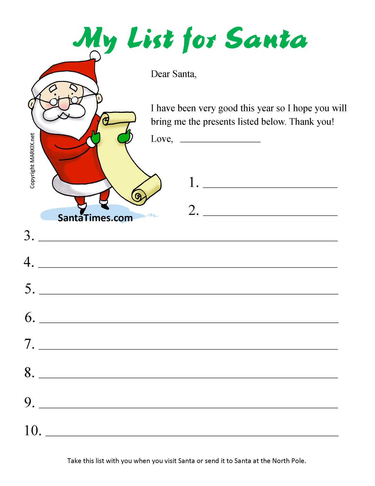 6 Images of Santa Printable Wish List