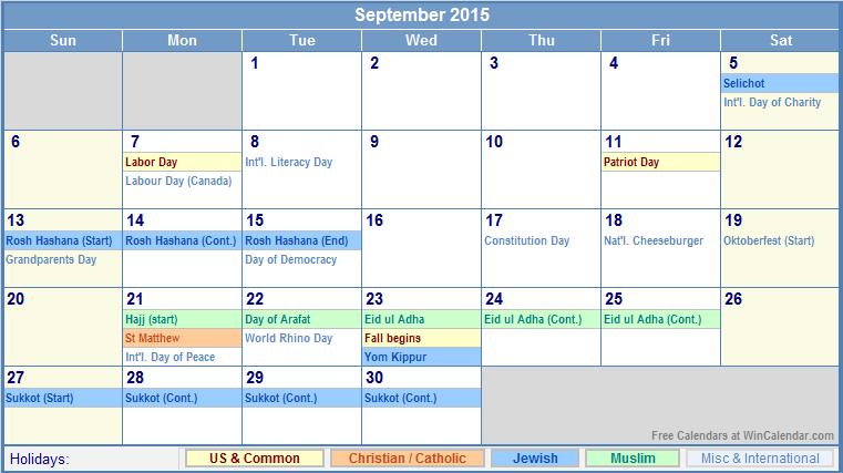 September Calendar with Holidays