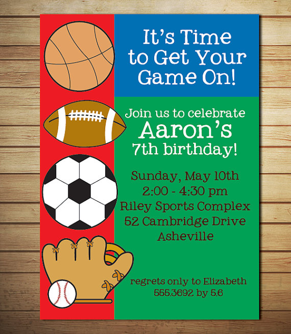 8 Images of Printable Sports Birthday Party Invitation