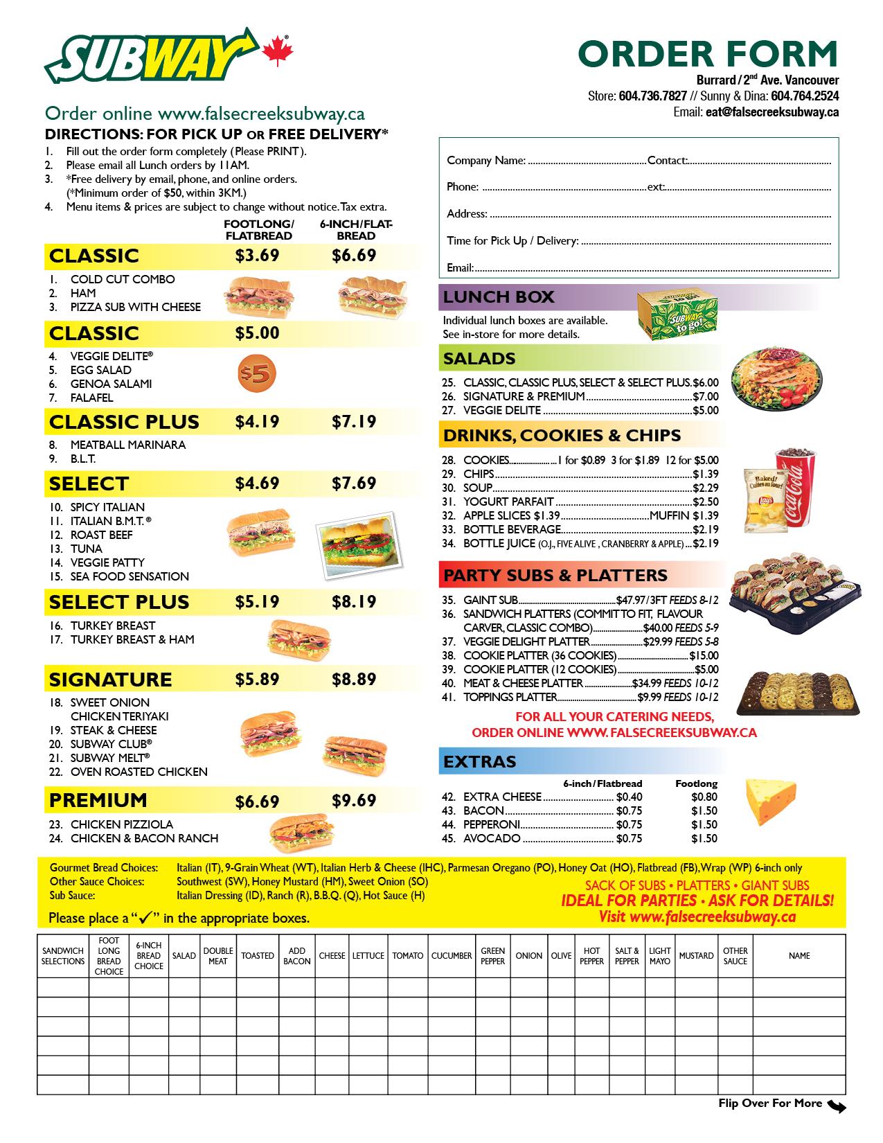 4 Best Images Of Subway Menu Order Form Printable